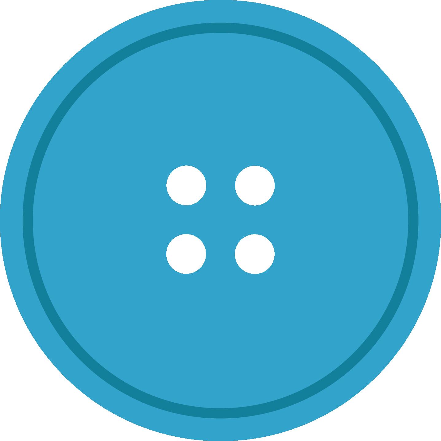 Blue round cloth button. Hole clipart transparent background
