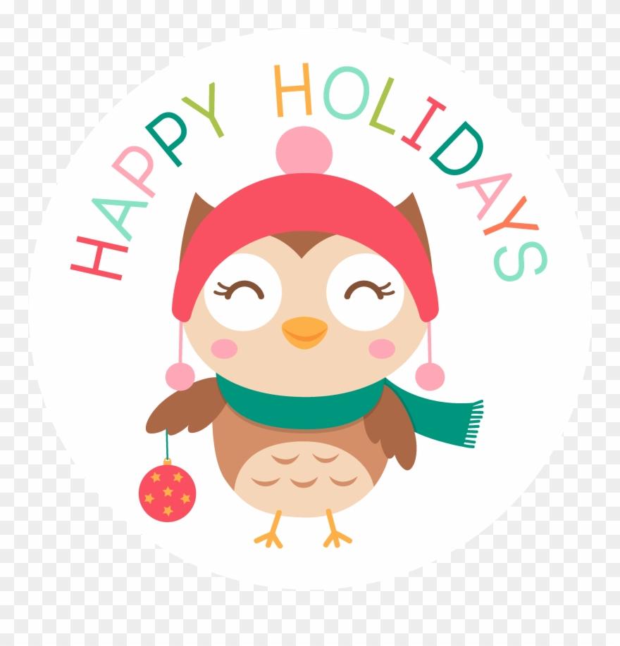 Holidays clipart holiday dinner. Happy christmas owl
