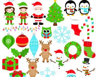 Etsy christmas set clip. Holiday clipart