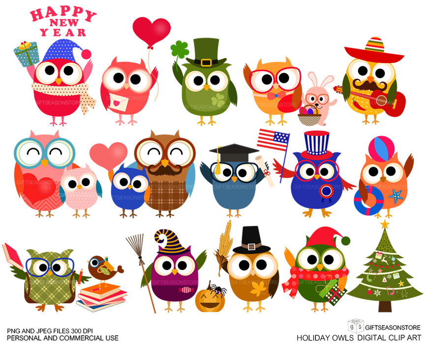 Holiday owls digital clip. Holidays clipart