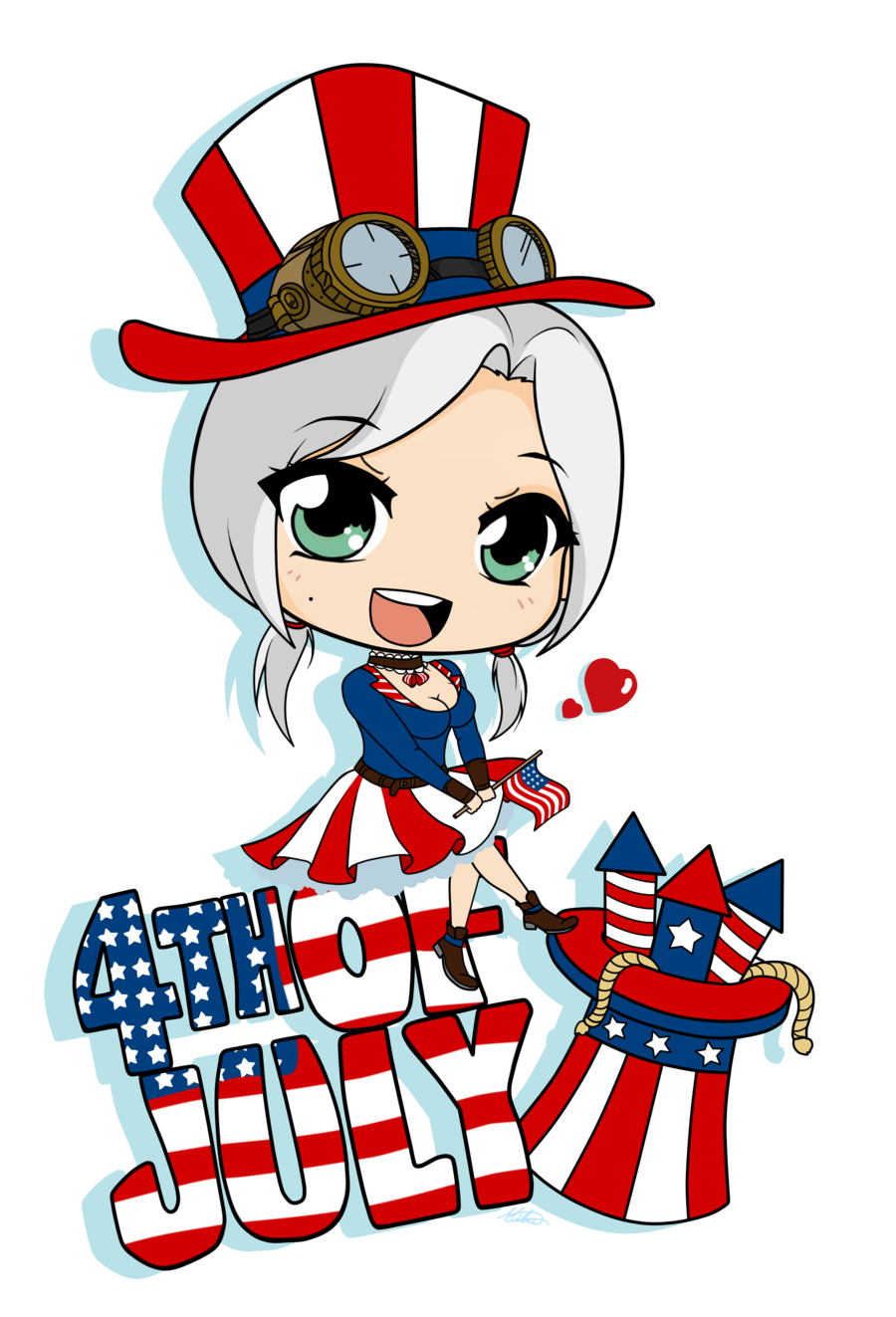 Independence day drawing chibi. Hotdog clipart 4th july