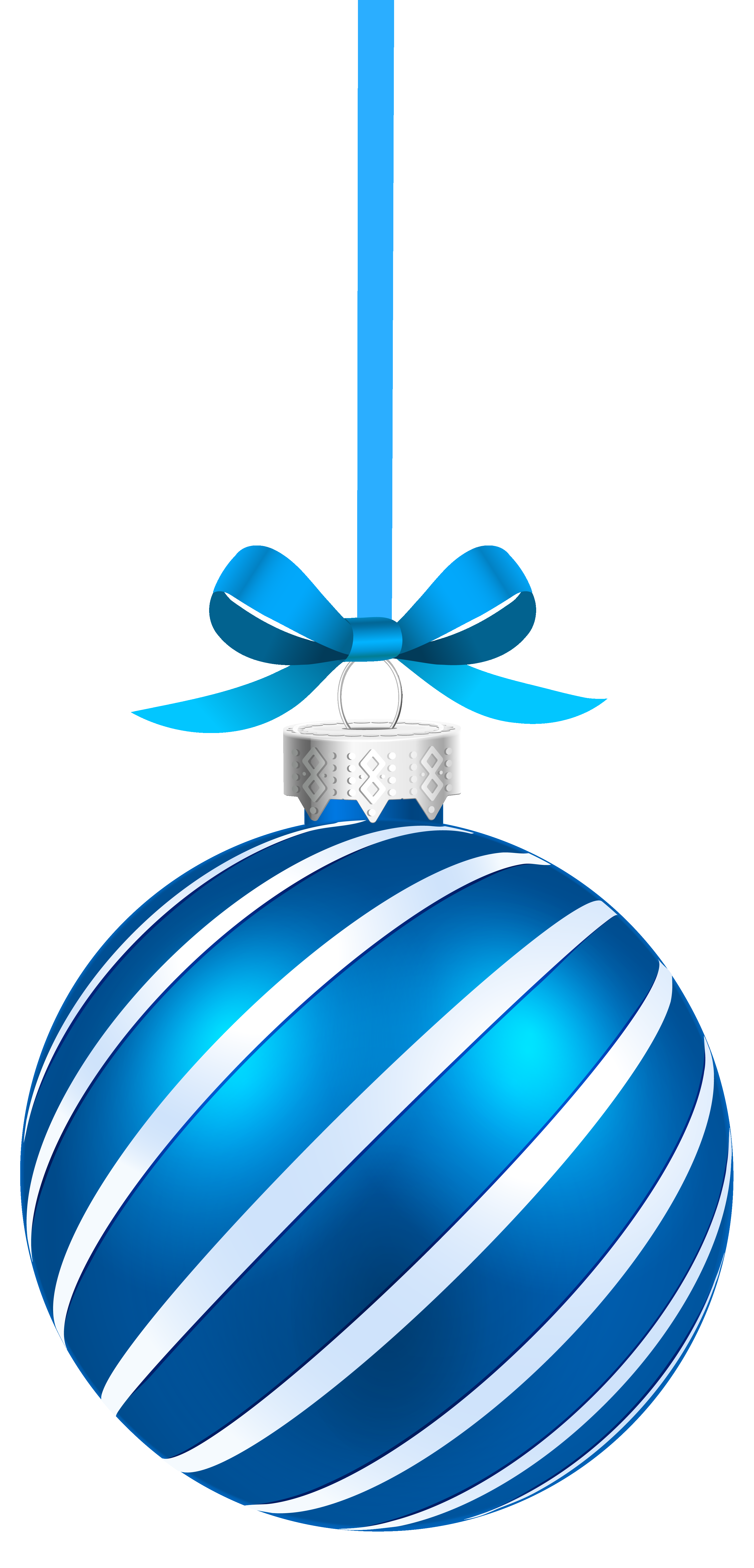 Blue sriped christmas hanging. Holiday clipart balls