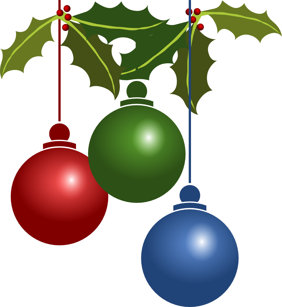Christmas ornaments with holly. Holiday clipart balls