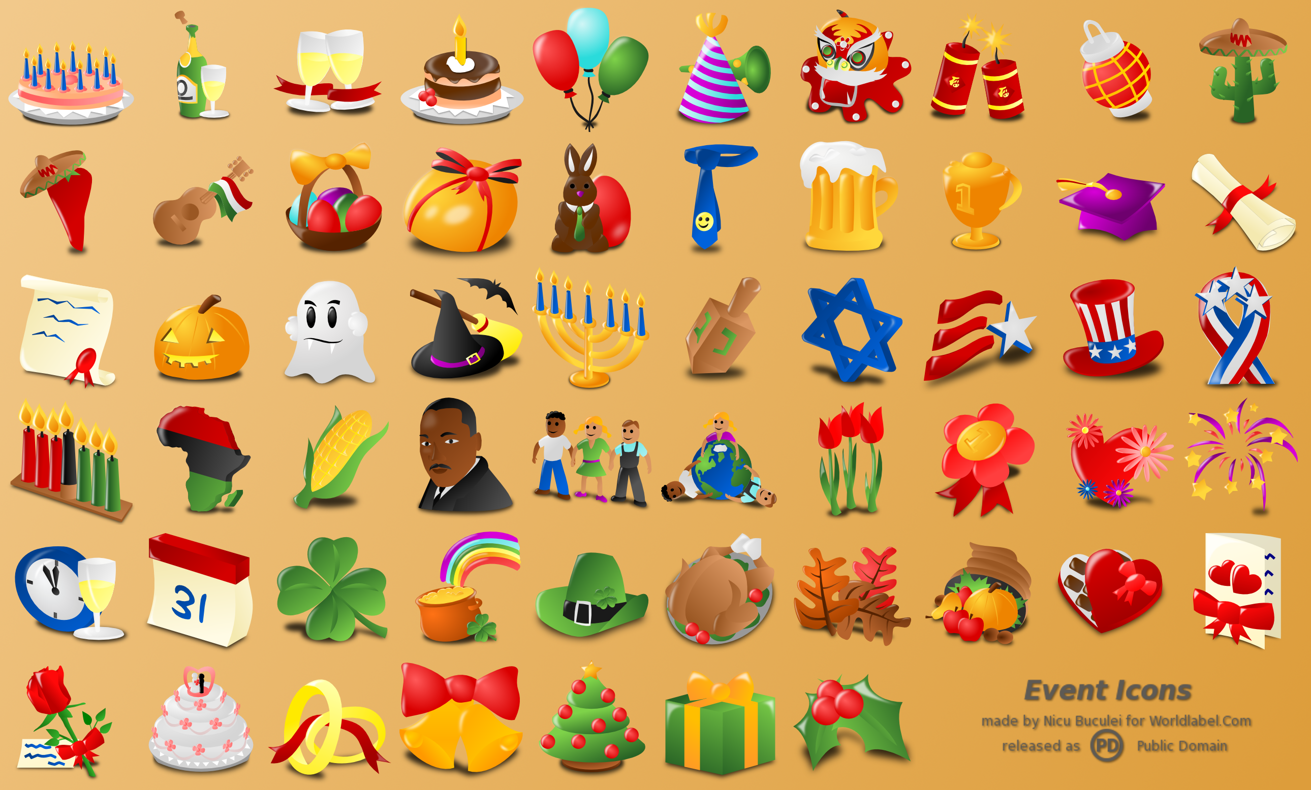 Holidays clipart collage. Free web icons for