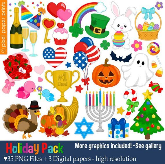 Holiday pack clip art. Holidays clipart collage