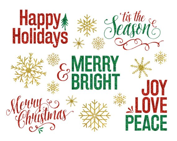 Glitter christmas overlays holiday. Holidays clipart collage