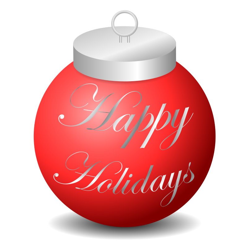 Happy holidays ornament medium. Holiday clipart holiday card