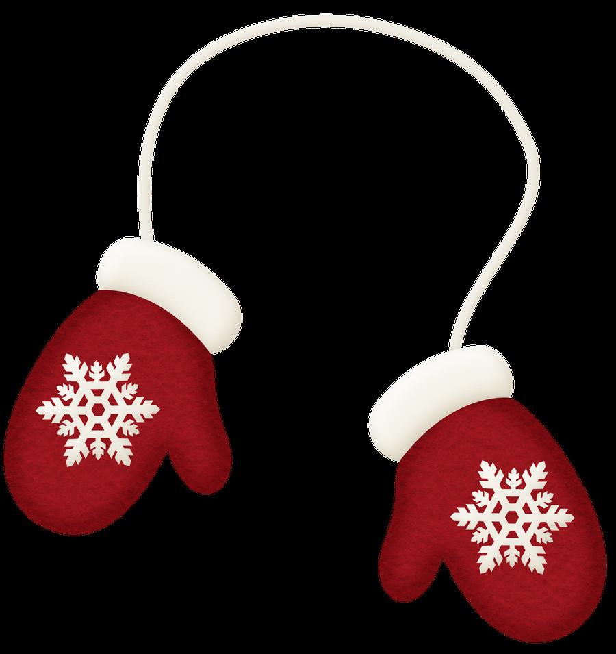 Winter red mittens clip. Holidays clipart mitten