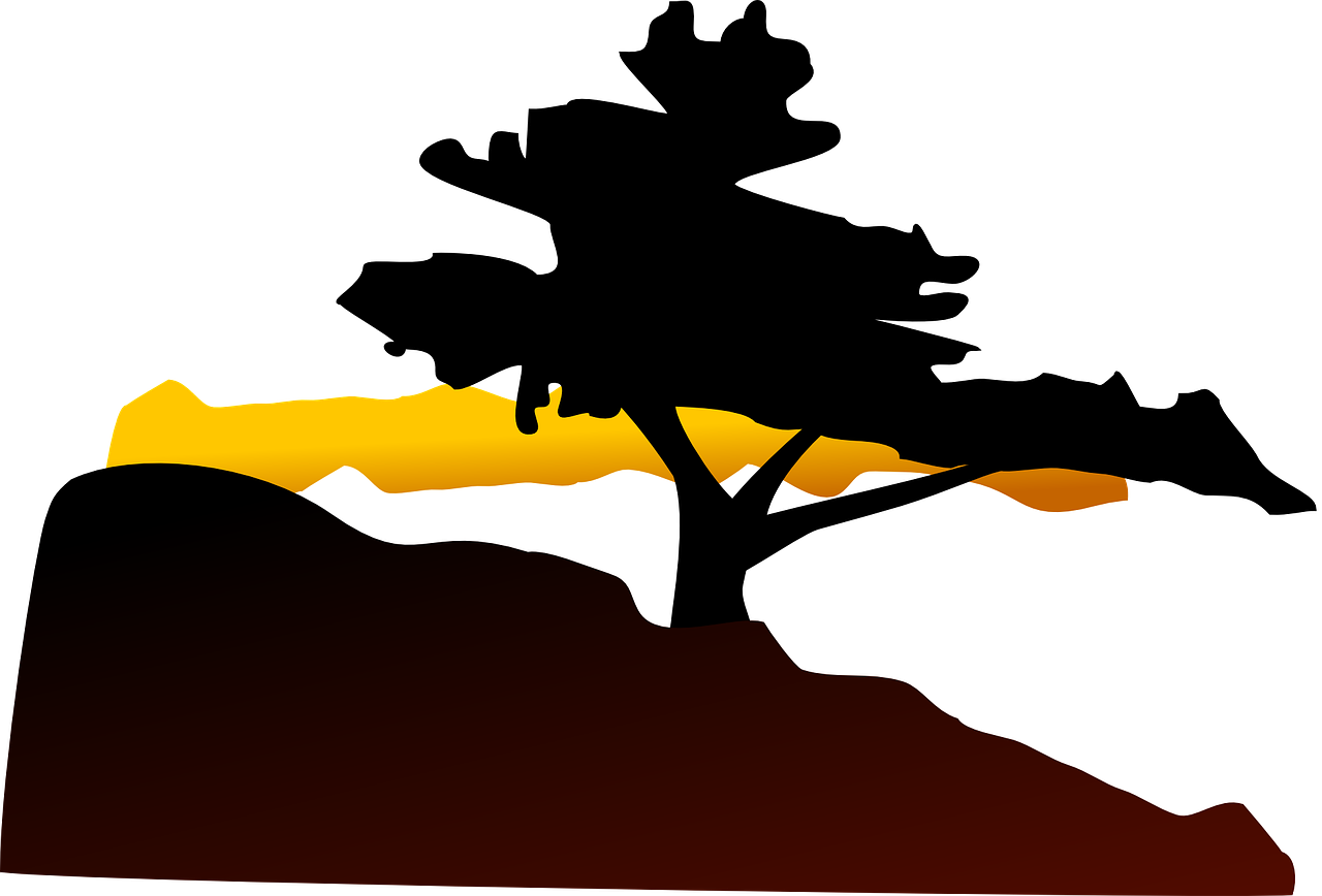 Holiday clipart mountain. Silhouette tree sunset landscape