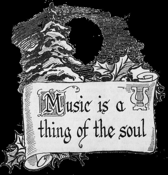 Christmas clip art scroll. Holidays clipart music