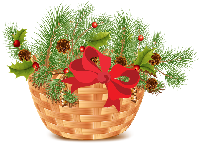 Holidays clipart pine. Christmas basket with and