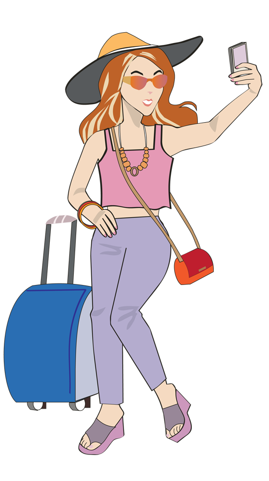 Holiday clipart traveller. Lady cartoon and caricature