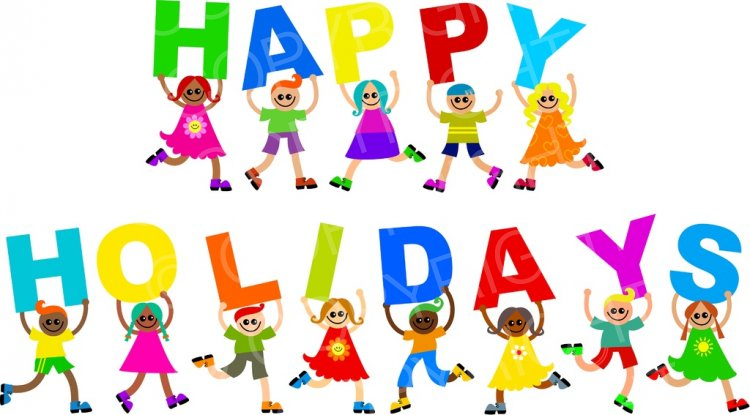 Diverse happy holiday kids. Holidays clipart
