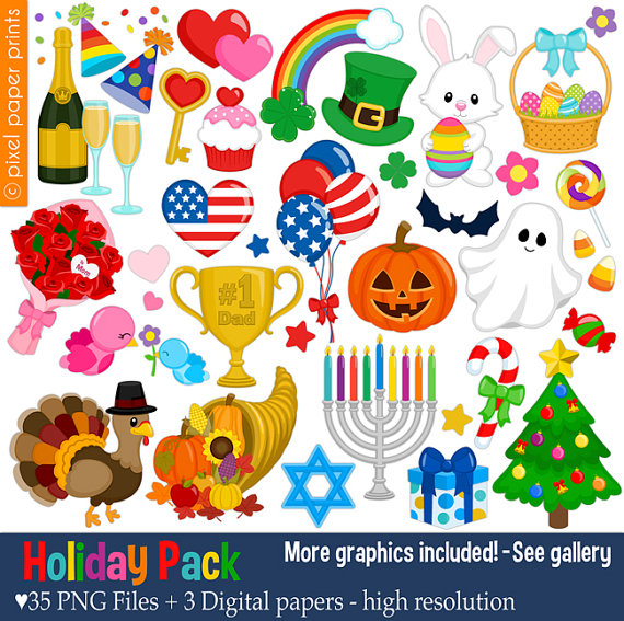 Pack clip art set. Holiday clipart