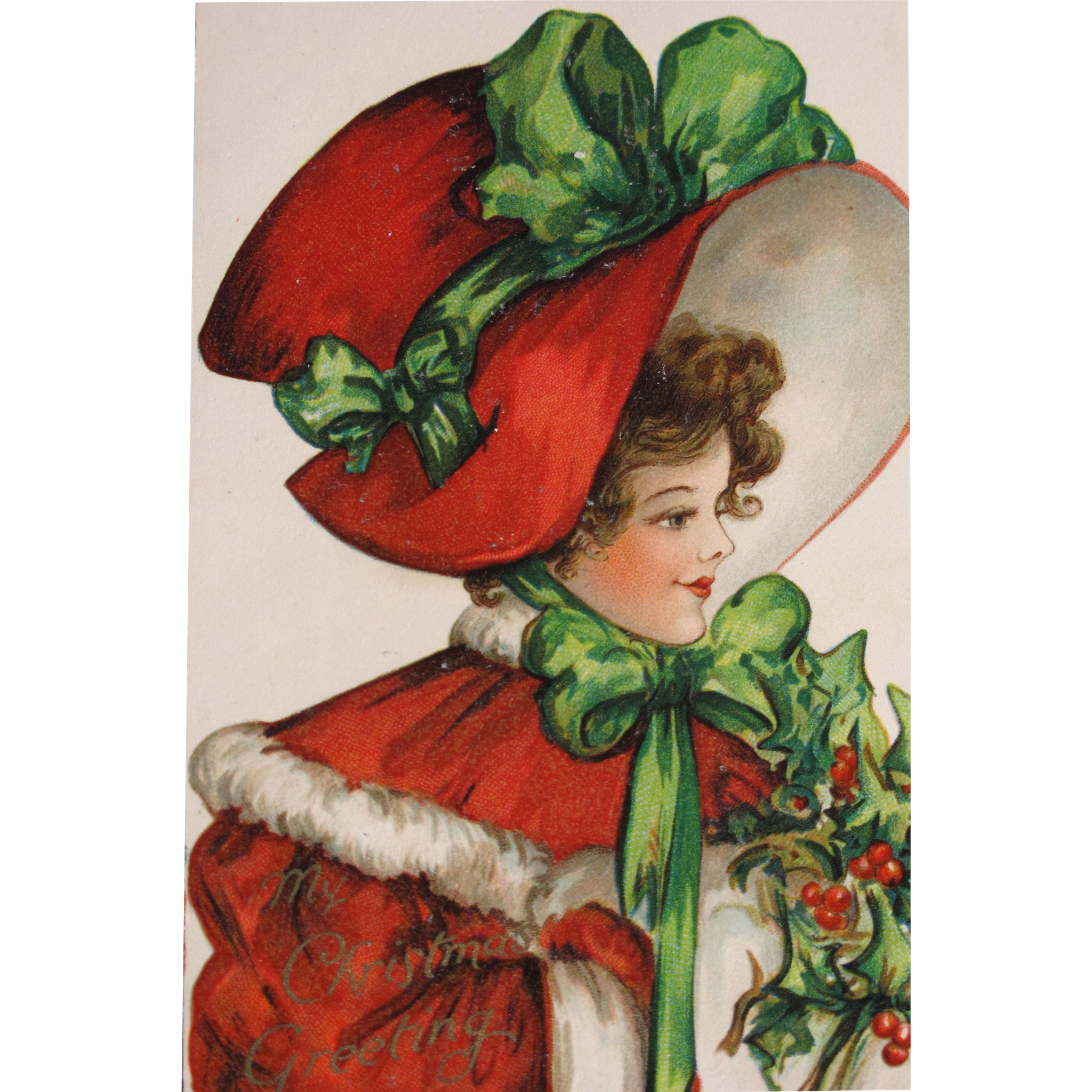 Holidays clipart collage. Christmas post card rare