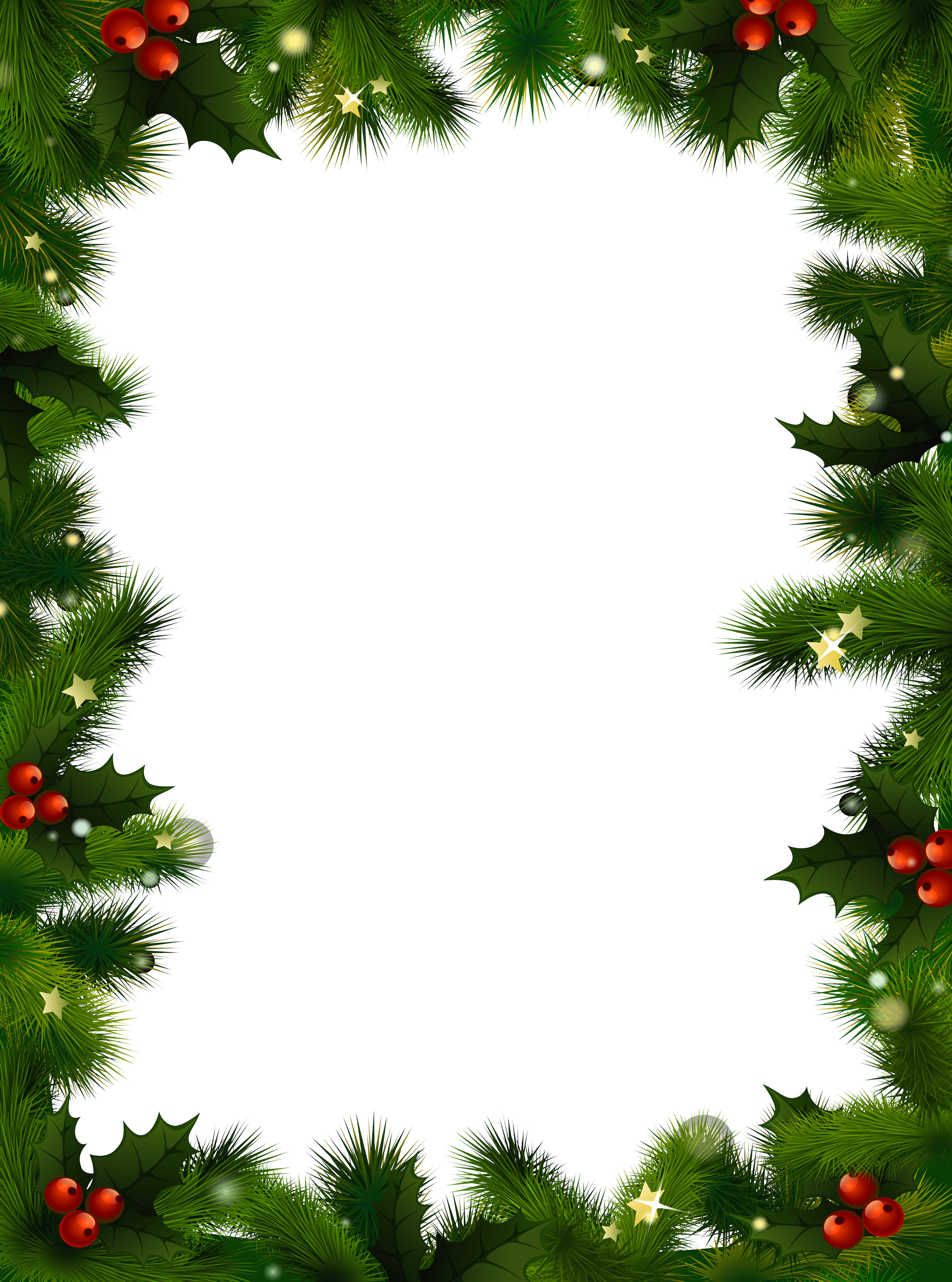Transparent christmas photo frame. Holidays clipart pine