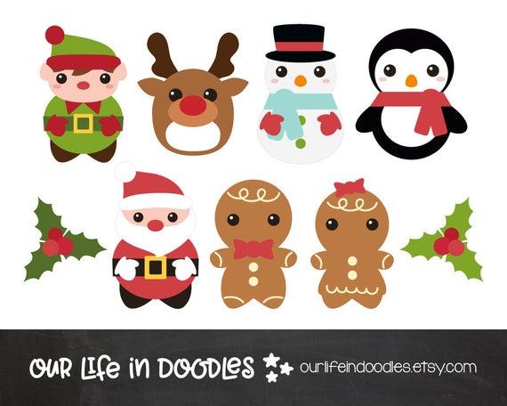 Christmas clip art set. Holidays clipart printable