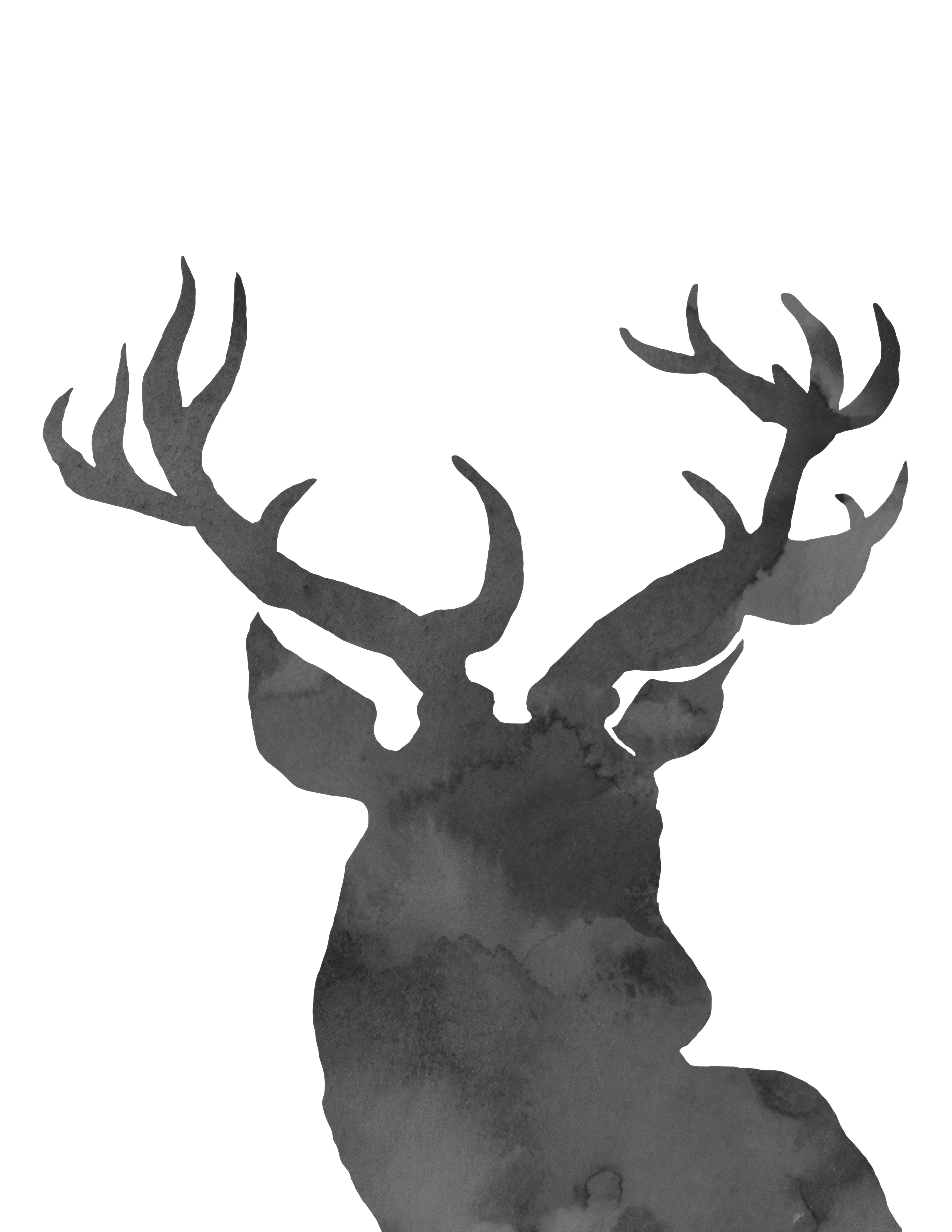 Santa and reindeer silhouette. Hunting clipart caribou