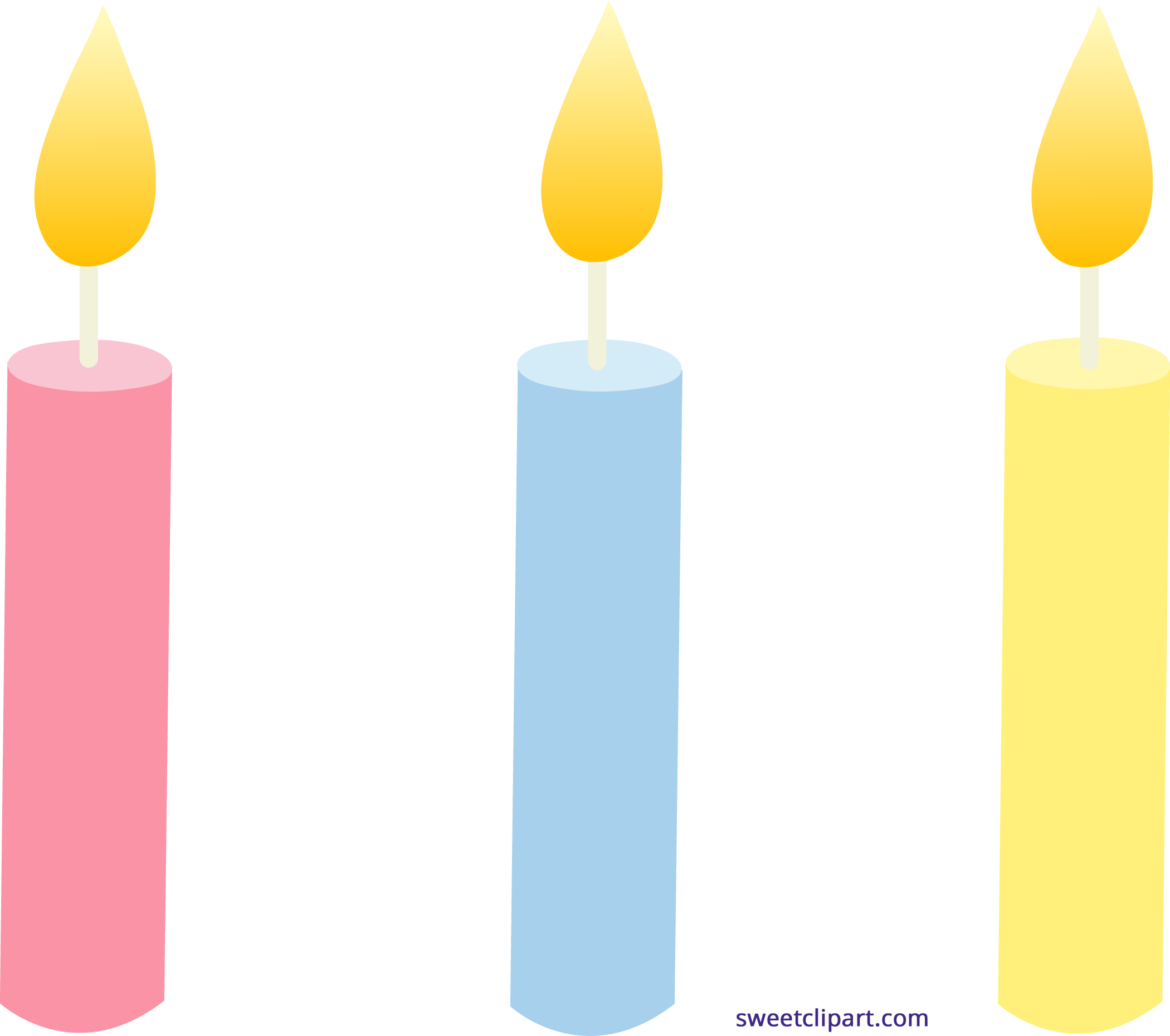 Holidays clipart sweet. Birthday candles trio clip