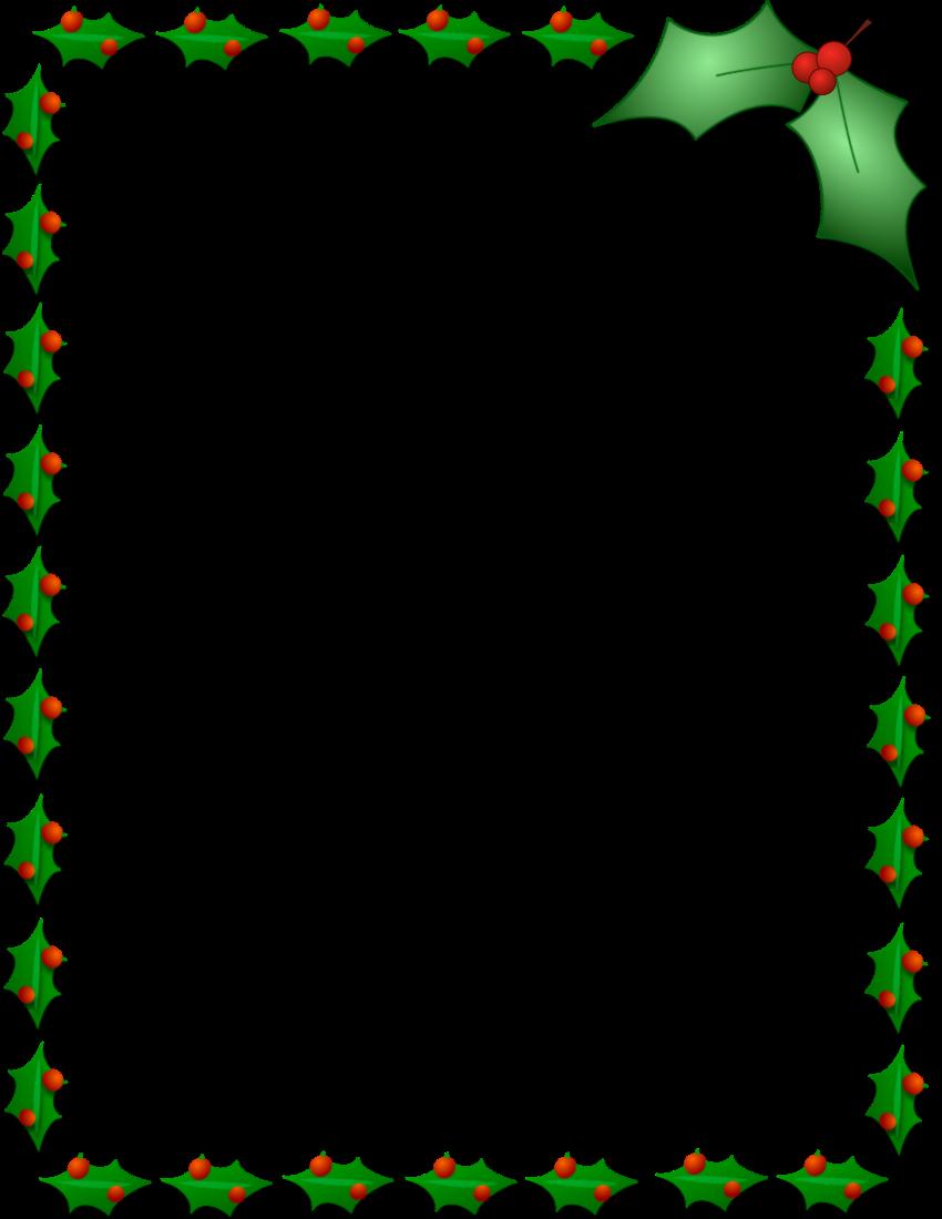 Holly border png. Christmas page frames holiday
