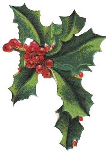 Free christmas vintage. Holly clipart