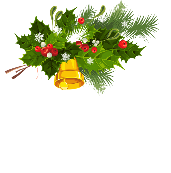 Transparent christmas mistletoe and. Holly clipart bell