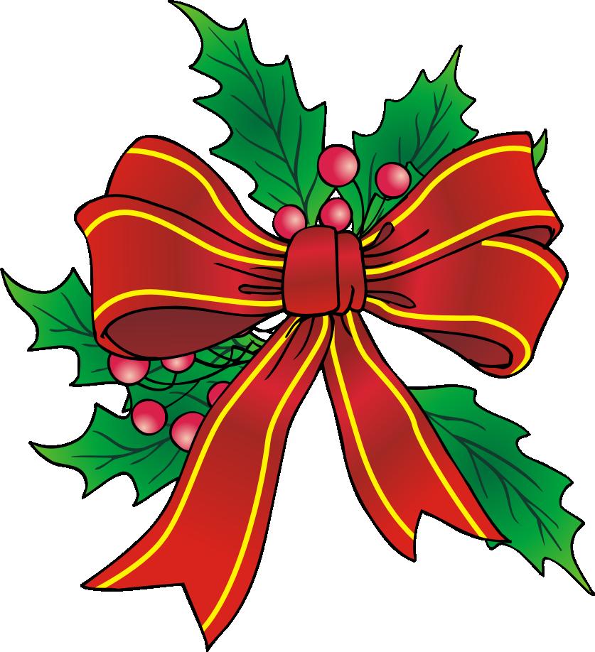 Christmas clip art cliparts. Holly clipart bow