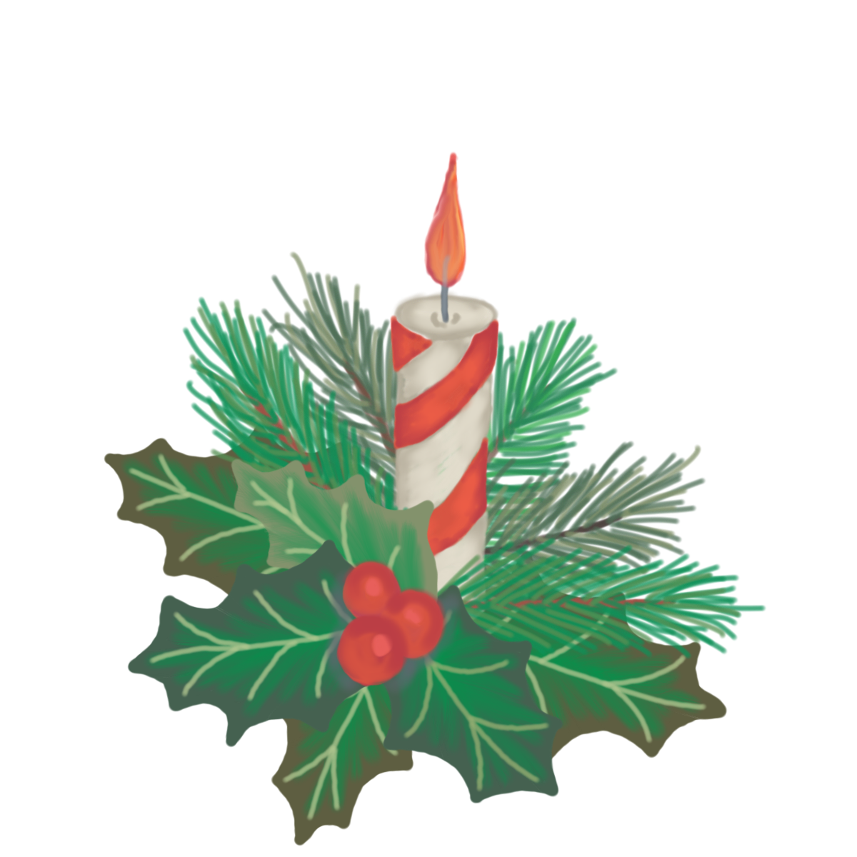 Holly clipart candle. Hand drawn christmas with