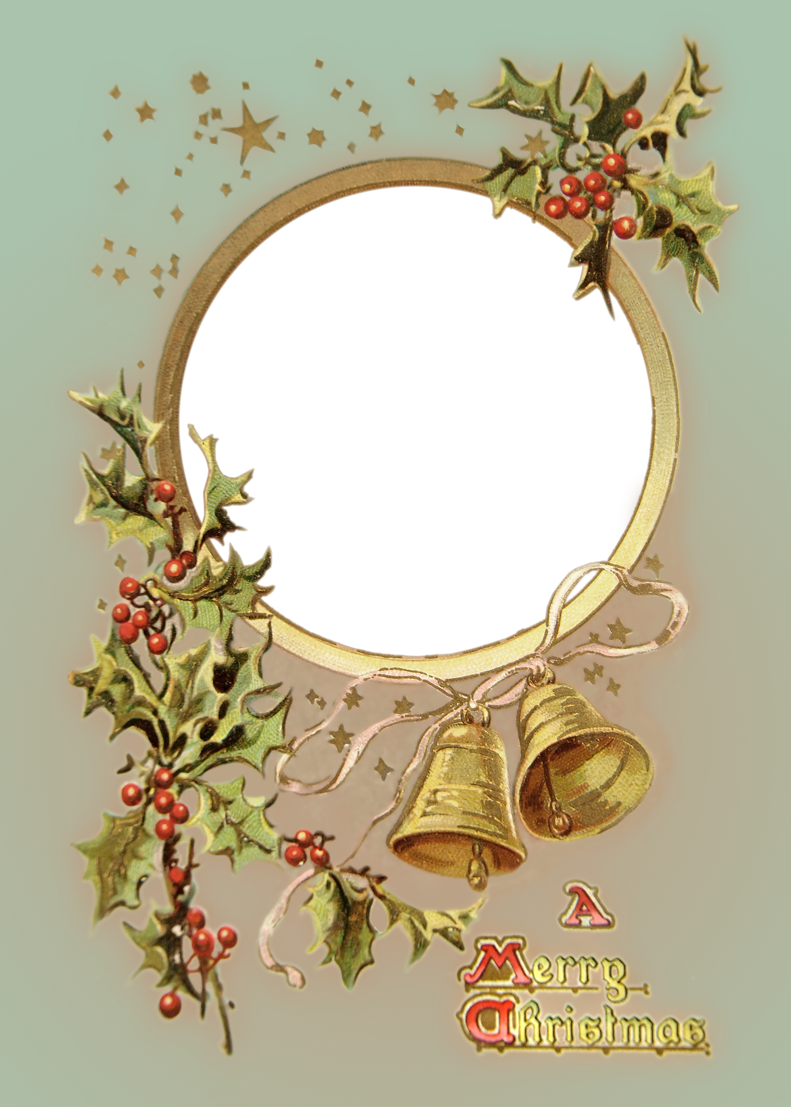 Christmas postcard photo frame. Sleigh clipart vintage