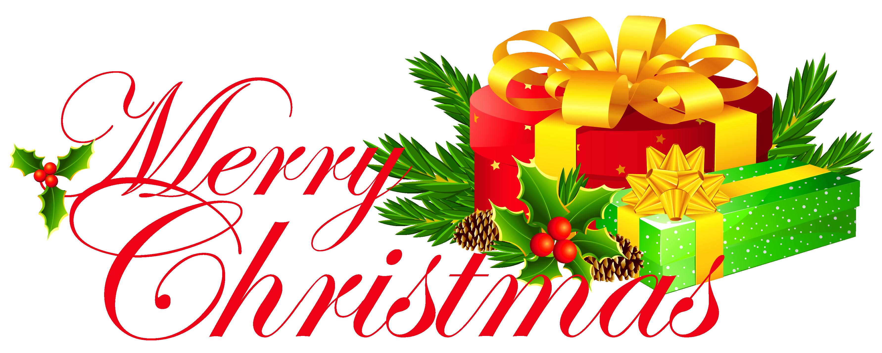 Clip art santa behind. Clipart present merry christmas