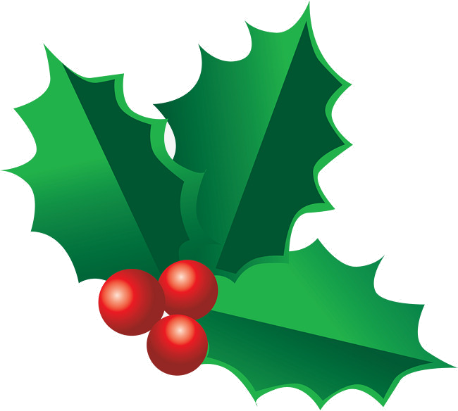 Holly clipart decoration. Leaf decorations for christmas