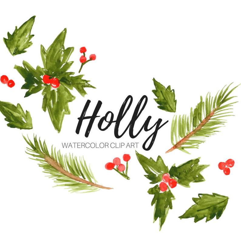 Christmas floral watercolor graphics. Holly clipart email