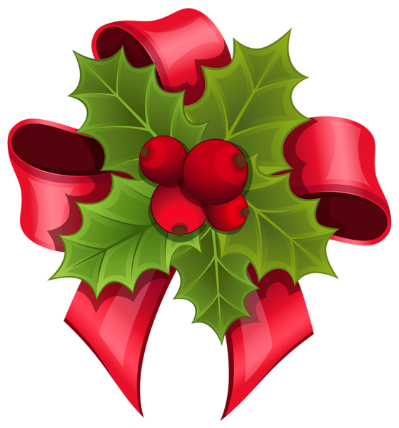 Mistletoe with red png. Holly clipart hair bow