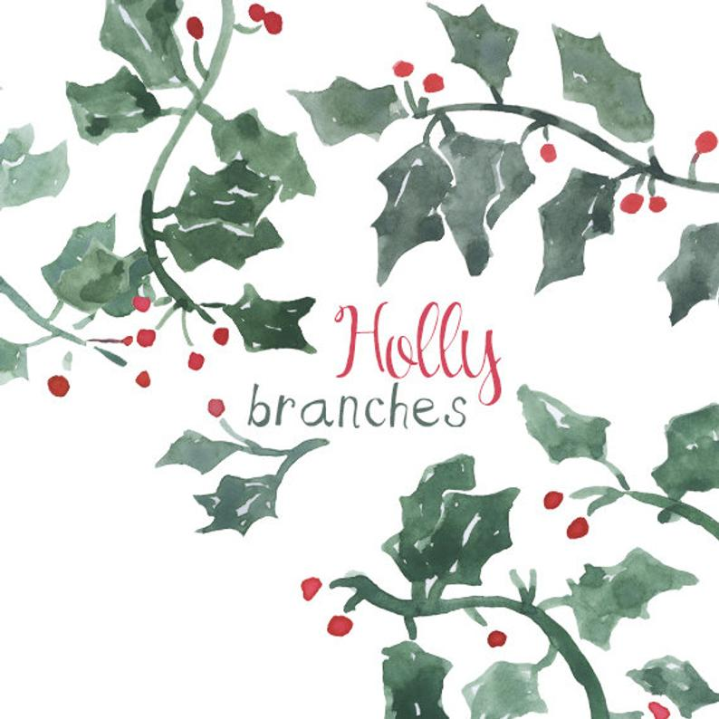 Holly clipart holly branch. Watercolor clip art for
