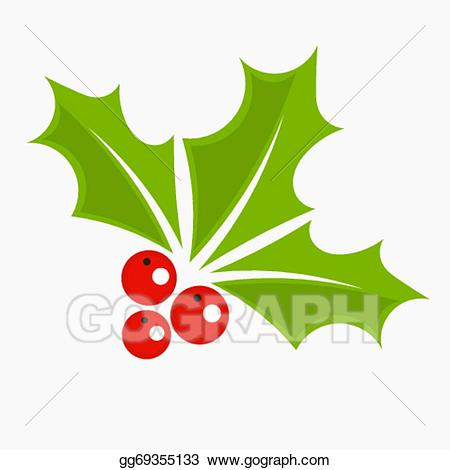 Holly clipart icon. Vector art berry christmas