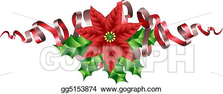 Poinsettia clipart ribbon. Vector art christmas holly