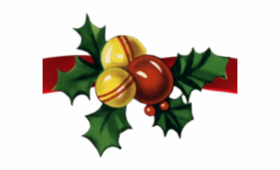 Holly clipart page divider. Christmas ribbon