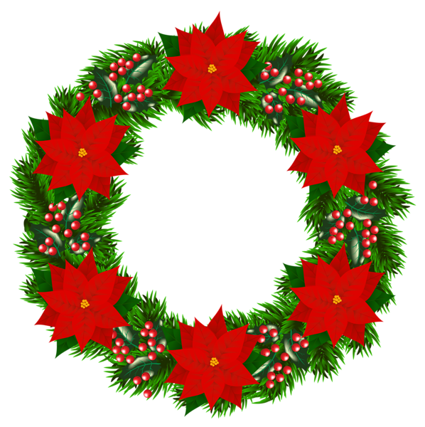 Holly clipart poinsettia. Christmas wreath with png