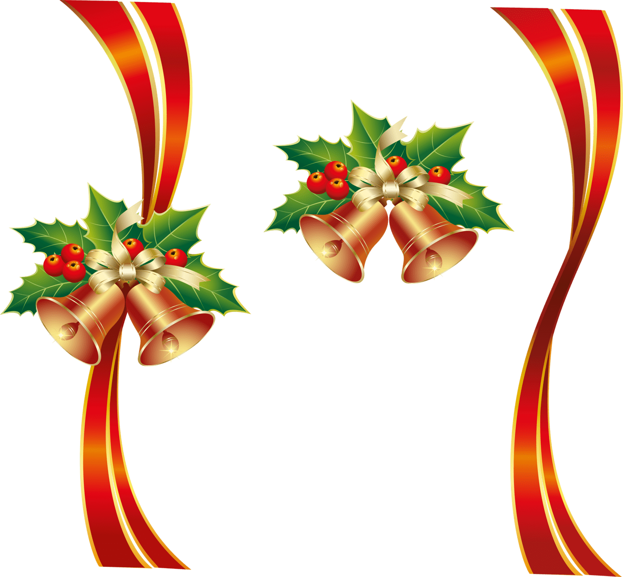 Christmas png bells . Holly clipart ribbon