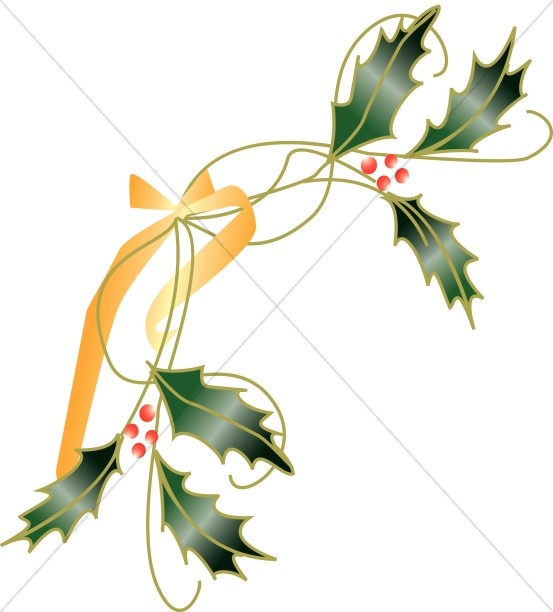 Leaves tied with traditional. Holly clipart ribbon