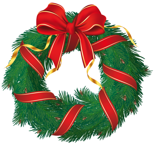 With red bow clipart. Christmas wreath vector png