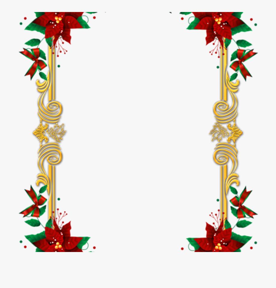 Holly clipart top border. Poinsettia clip frame christmas