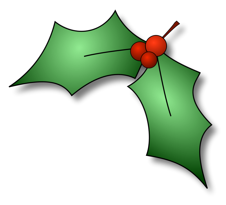 Free public domain christmas. Holly clipart
