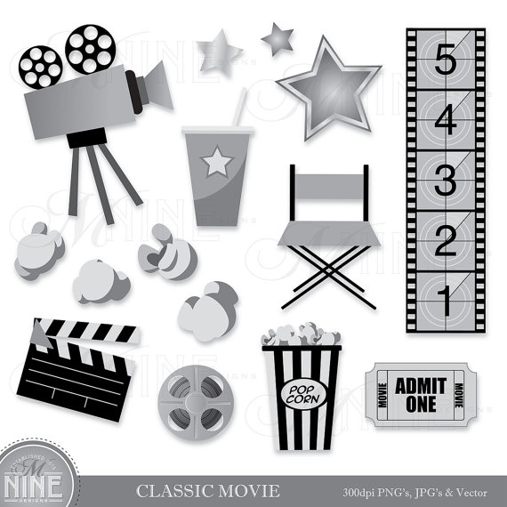 Classic movie clip art. Hollywood clipart black and white
