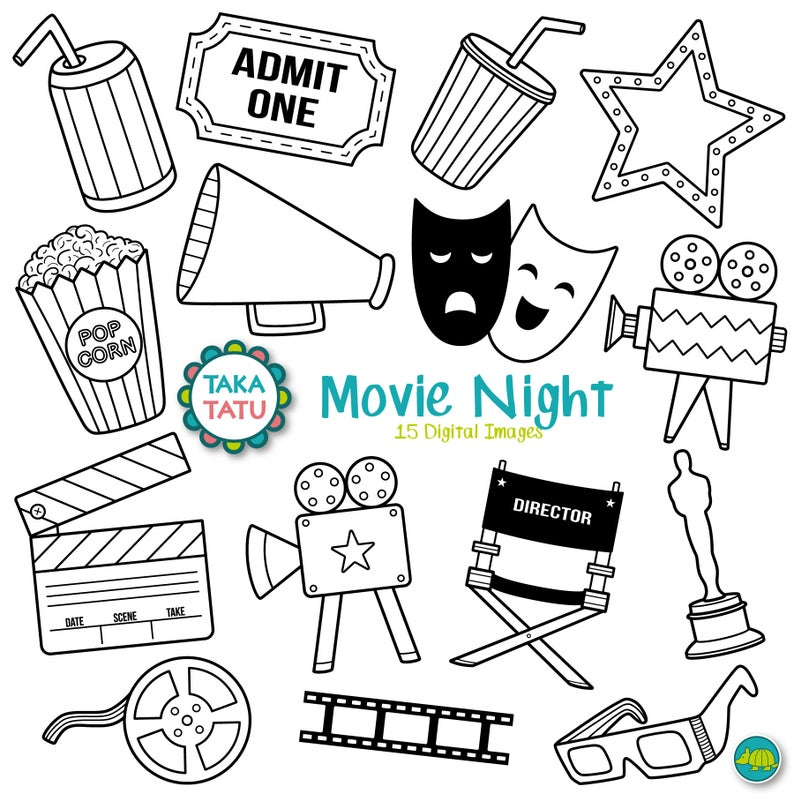 Movies digital stamp movie. Hollywood clipart black and white