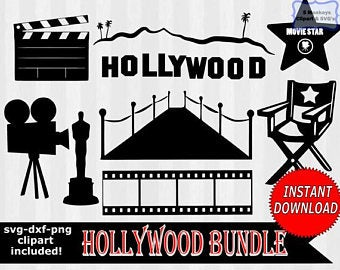 Hollywood clipart decal. Etsy