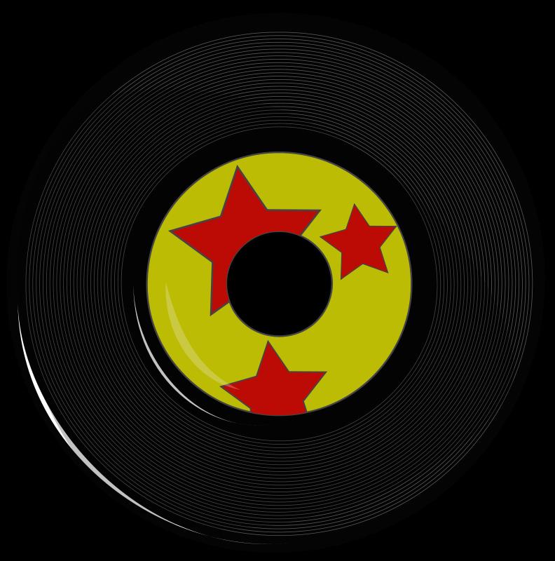 Vintage hollywood rocks theme. Record clipart decade