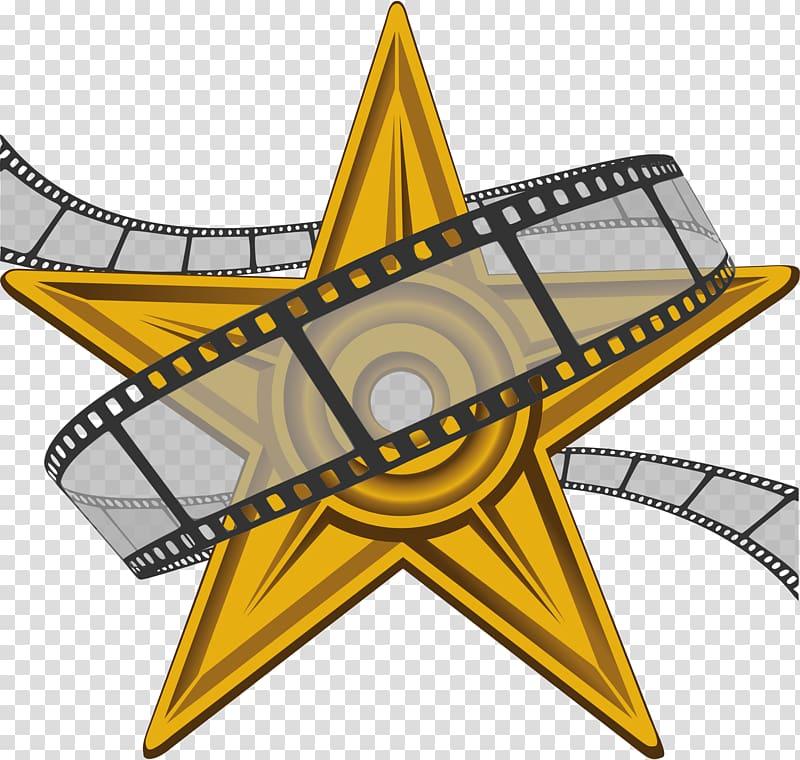 Yellow star film festival. Hollywood clipart illustration