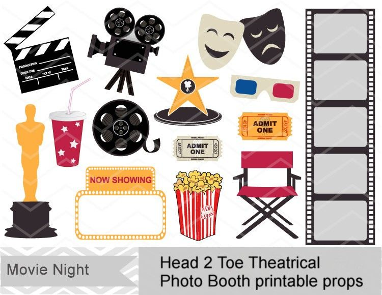 Photo booth props if. Hollywood clipart printable