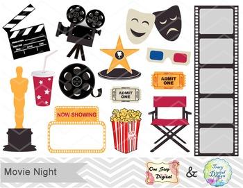 Hollywood clipart themed hollywood. Movie party digital clip